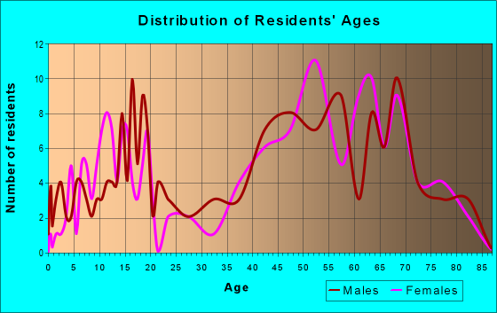Age and Sex of Residents in zip code 12824