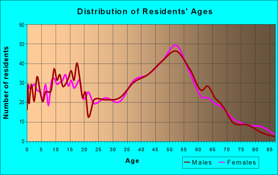 Age and Sex of Residents in zip code 12833