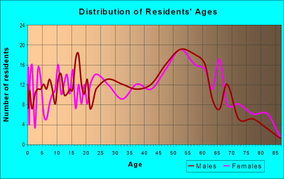 Age and Sex of Residents in zip code 12912