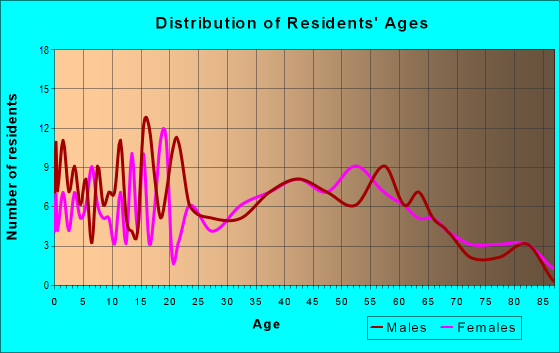 Age and Sex of Residents in zip code 12934
