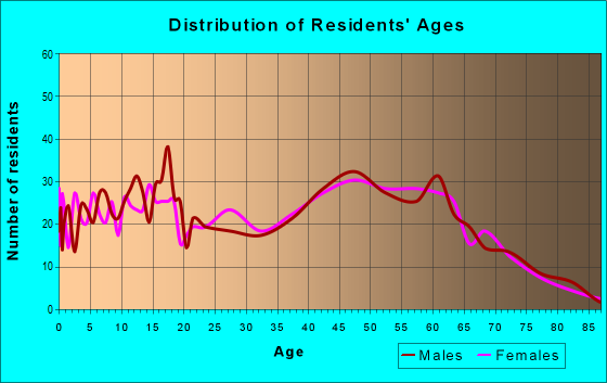 Age and Sex of Residents in zip code 13308