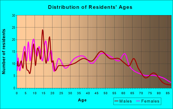 Age and Sex of Residents in zip code 13433