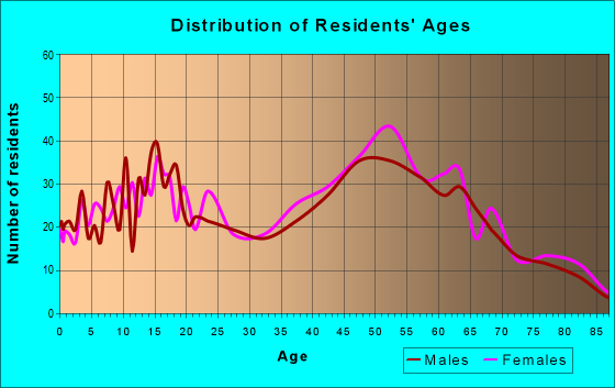 Age and Sex of Residents in zip code 13456