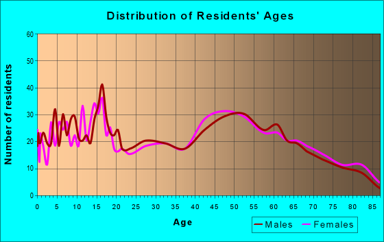Age and Sex of Residents in zip code 13491