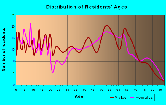 Age and Sex of Residents in zip code 13646