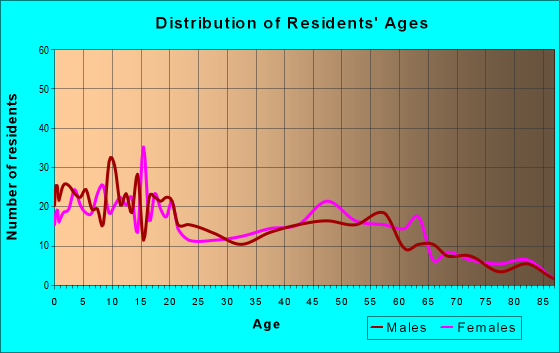 Age and Sex of Residents in zip code 13654