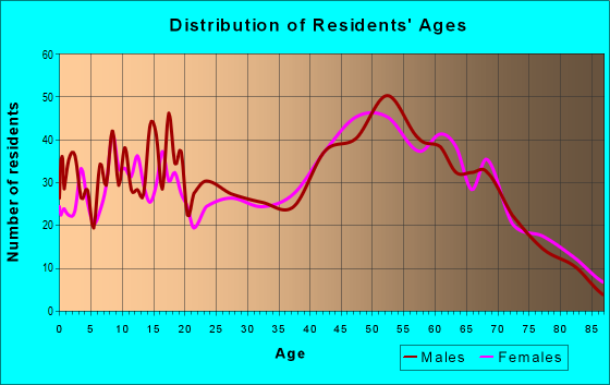 Age and Sex of Residents in zip code 13733