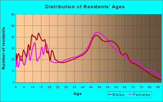 Age and Sex of Residents in zip code 13833