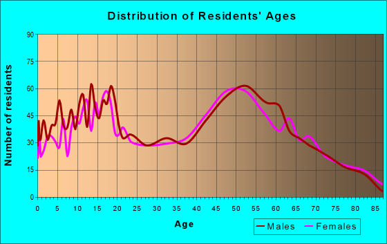 Age and Sex of Residents in zip code 13865