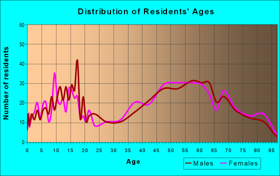 Age and Sex of Residents in zip code 14712