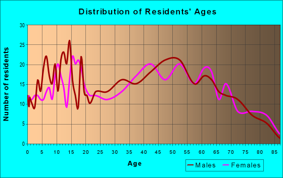 Age and Sex of Residents in zip code 14813