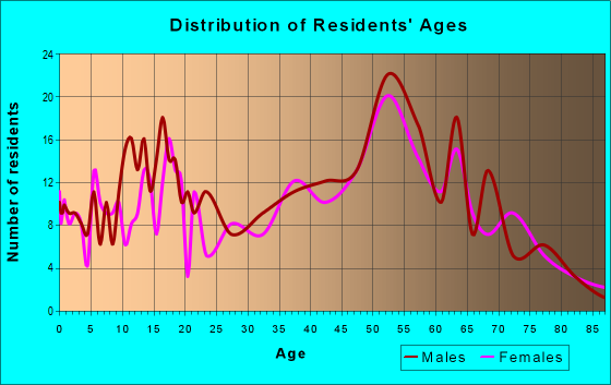 Age and Sex of Residents in zip code 16313