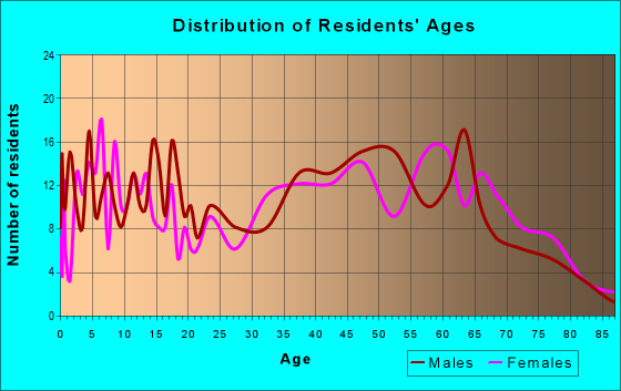 Age and Sex of Residents in zip code 16838