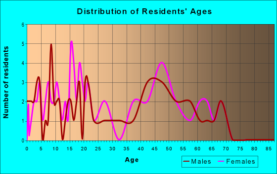 Age and Sex of Residents in zip code 16876
