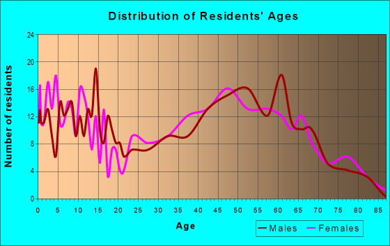 Age and Sex of Residents in zip code 16877