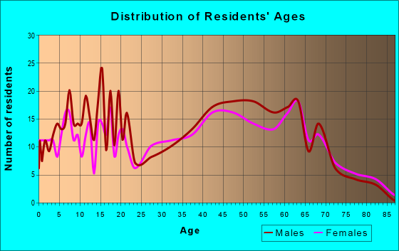 Age and Sex of Residents in zip code 17309