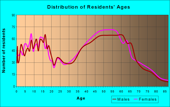 Age and Sex of Residents in zip code 17349