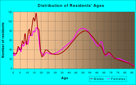 Age and Sex of Residents in zip code 18069