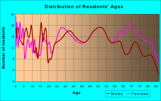 Age and Sex of Residents in zip code 18076