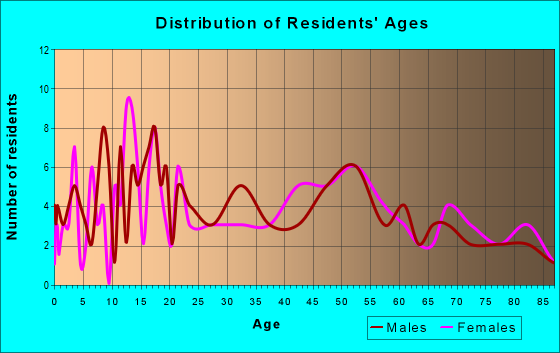 Age and Sex of Residents in zip code 18333