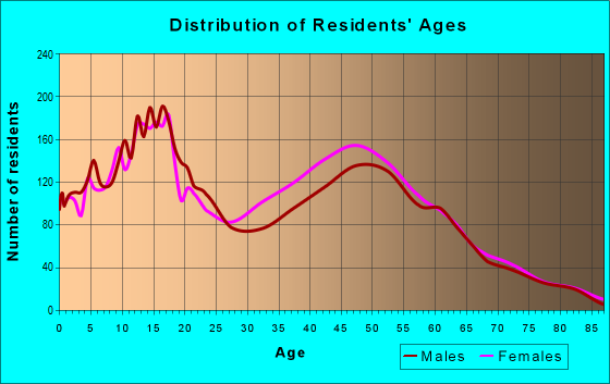 Age and Sex of Residents in zip code 18466