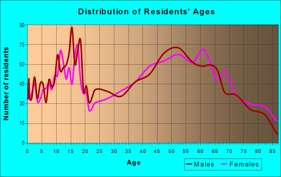 Age and Sex of Residents in zip code 18801