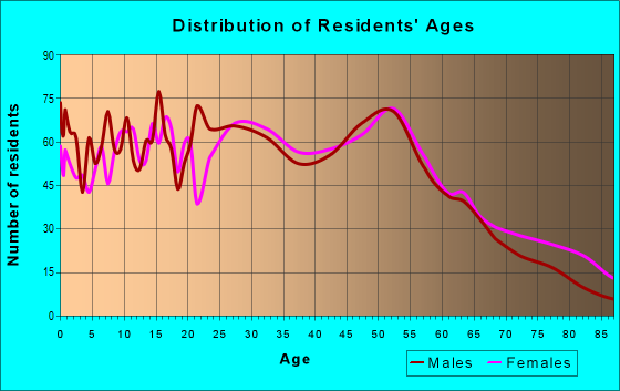 Age and Sex of Residents in zip code 19137