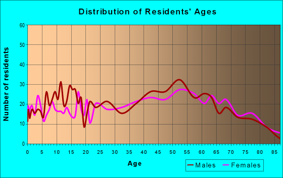 Age and Sex of Residents in zip code 19555