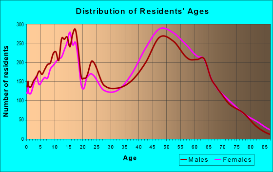 Age and Sex of Residents in zip code 22032