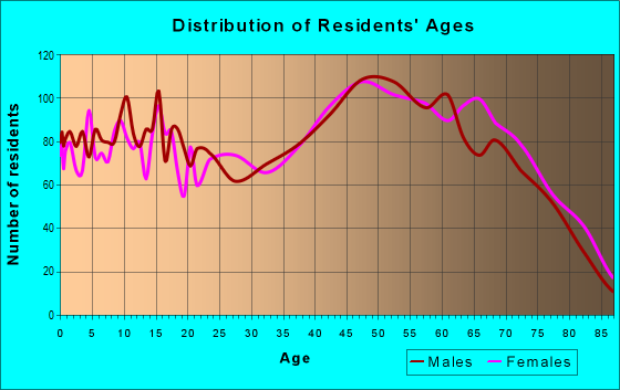 Age and Sex of Residents in zip code 24055