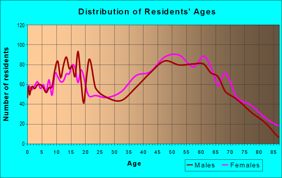 Age and Sex of Residents in zip code 24521