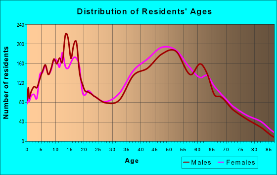 Age and Sex of Residents in zip code 24551