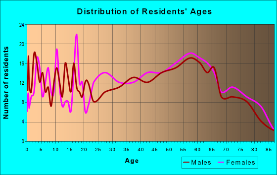 Age and Sex of Residents in zip code 24555