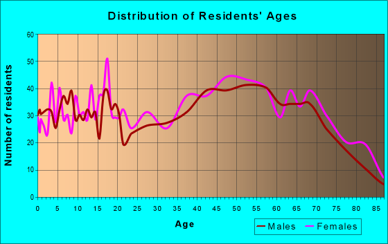 Age and Sex of Residents in zip code 24563