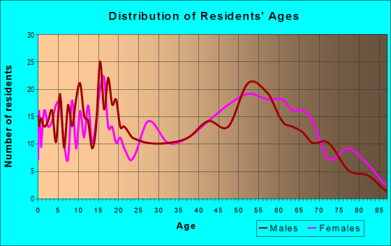 Age and Sex of Residents in zip code 24589