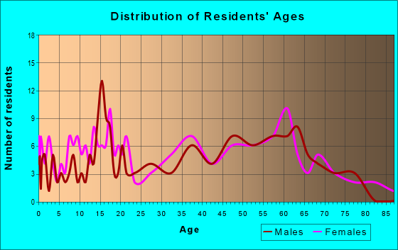 Age and Sex of Residents in zip code 24733