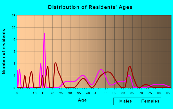 Age and Sex of Residents in zip code 25283