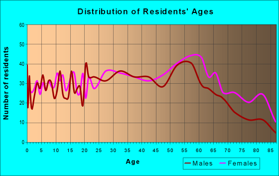 Age and Sex of Residents in zip code 25601