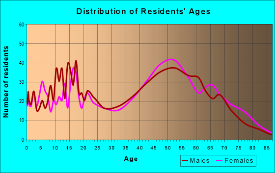 Age and Sex of Residents in zip code 27019