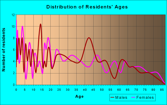 Age and Sex of Residents in zip code 28076