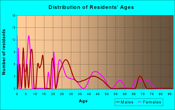 Age and Sex of Residents in zip code 28368