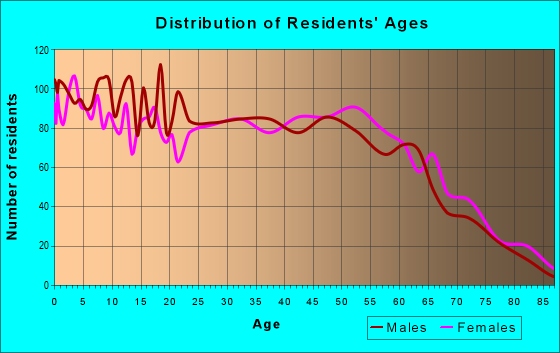 Age and Sex of Residents in zip code 28384