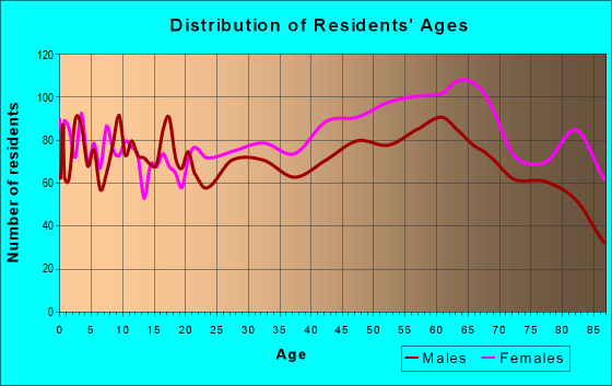 Age and Sex of Residents in zip code 28387