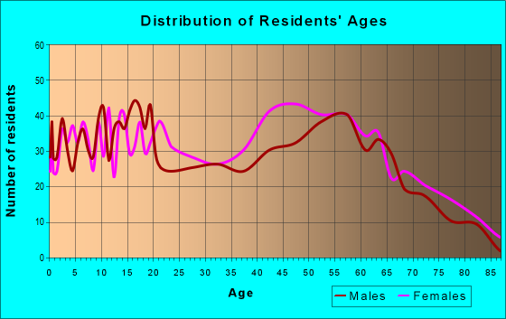 Age and Sex of Residents in zip code 28433
