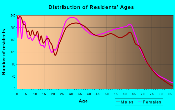 Age and Sex of Residents in zip code 28451