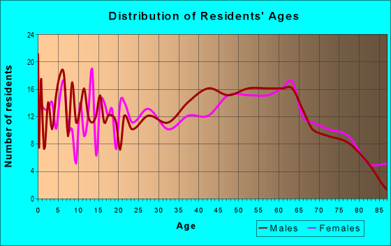 Age and Sex of Residents in zip code 28529