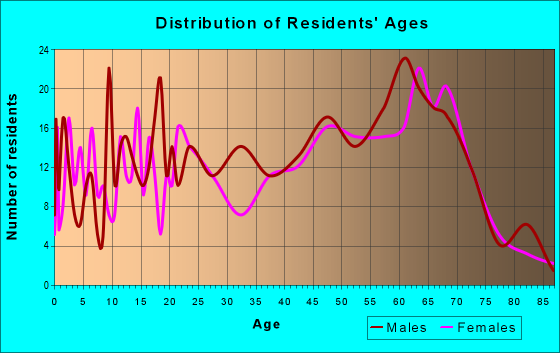 Age and Sex of Residents in zip code 28747