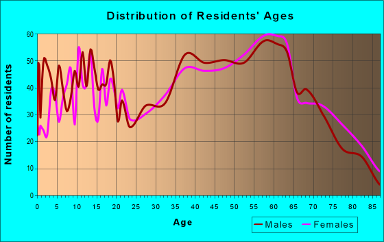 Age and Sex of Residents in zip code 28762