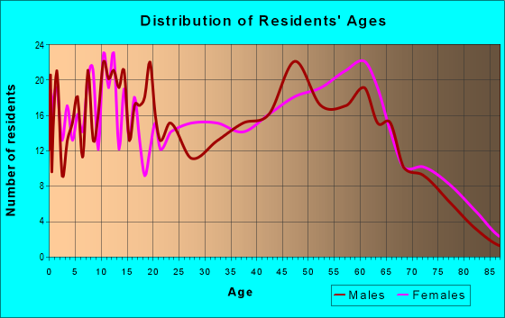 Age and Sex of Residents in zip code 29137