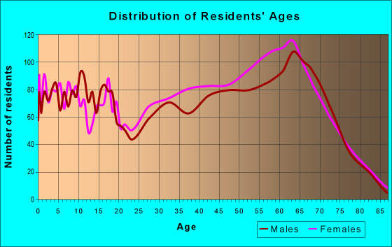 Age and Sex of Residents in zip code 29568